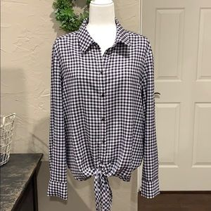 Alex Marie tie front navy and white blouse.